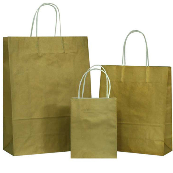 Gold Solid on White Carrier Bags with Twisted Handle