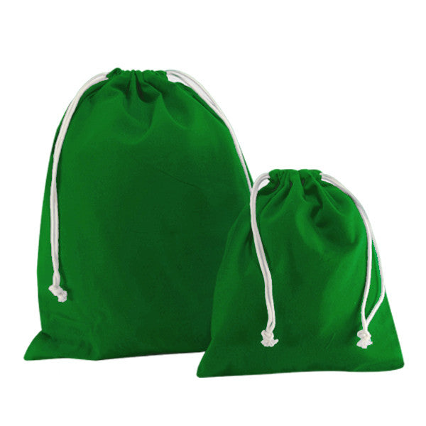 Green Canvas Drawstring Bags