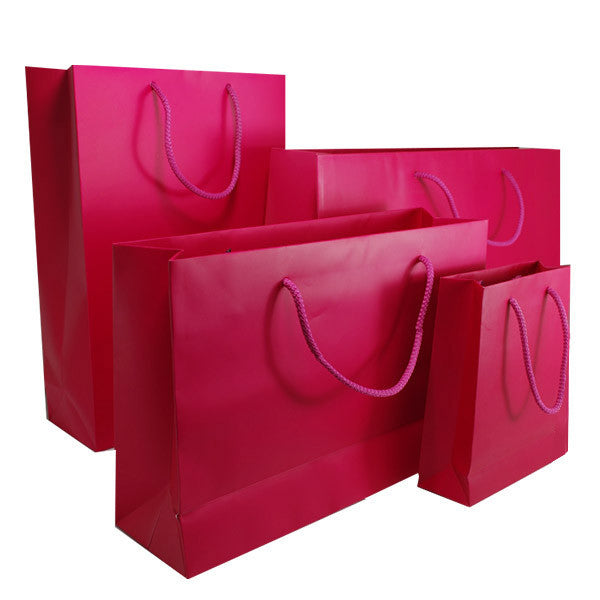 Hot Pink Matt Laminated Carrier Bag with Rope Handle