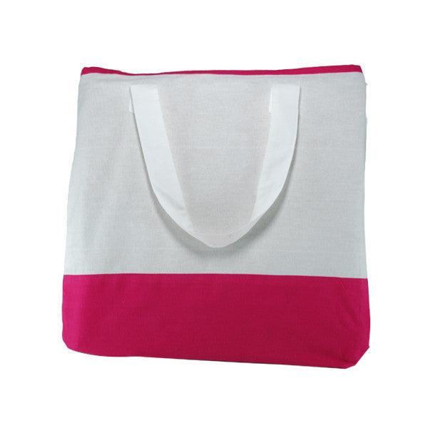 White Fuchsia Cotton Two Colour Bags