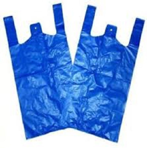 Solid Blue Recycled Plastic Vest Bags
