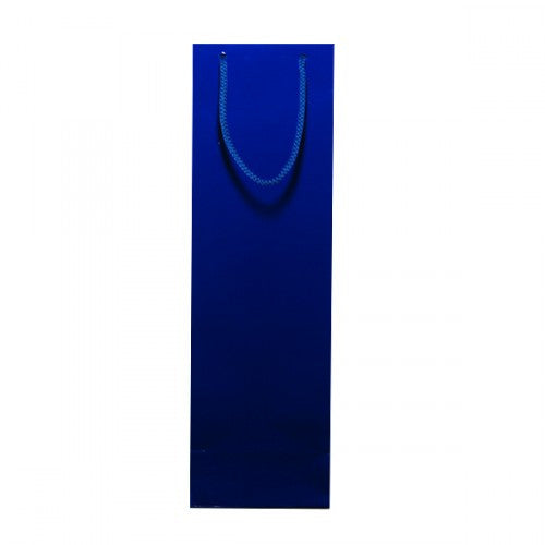 Solid Indigo Blue Gloss Laminated Bottle Bags