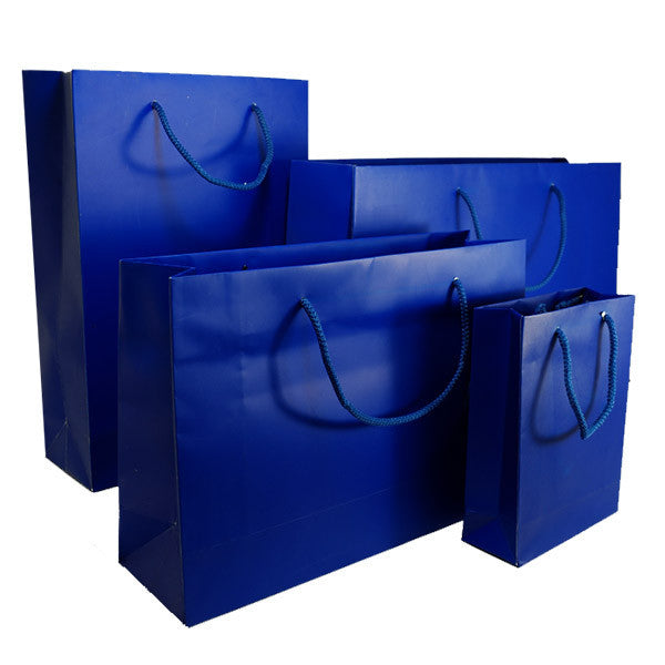 Indigo Blue Matt Laminated Carrier Bag with Rope Handle