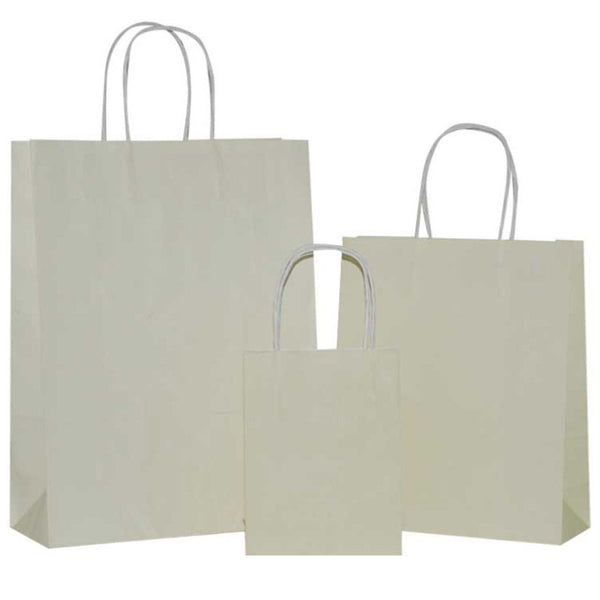 Ivory Solid on White Carrier Bags with Twisted Handle
