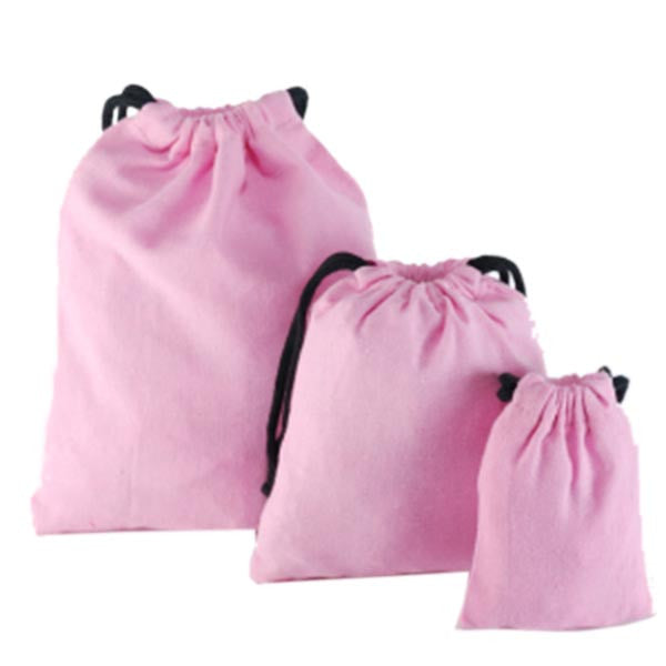 Light Pink Cotton Drawstring Pouches