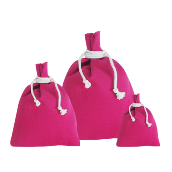 Fuchsia Canvas Drawstring Pouches