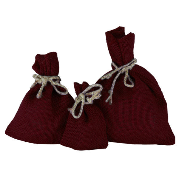 Burgundy Jute Drawstring Pouch Bags - Picobags.co.uk