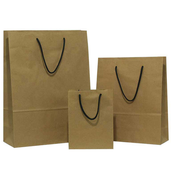 Natural Brown Carrier Bags Rope Handle