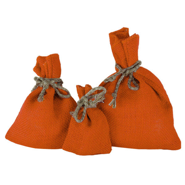 Orange Jute Drawstring Pouches