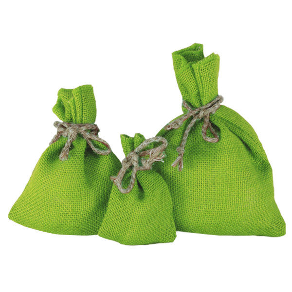 X Mas Green Jute Drawstring Pouches