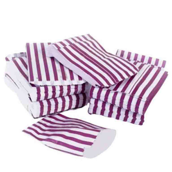 purple candy stripe paper bag