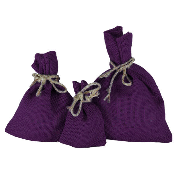 Purple Jute Drawstring Pouches
