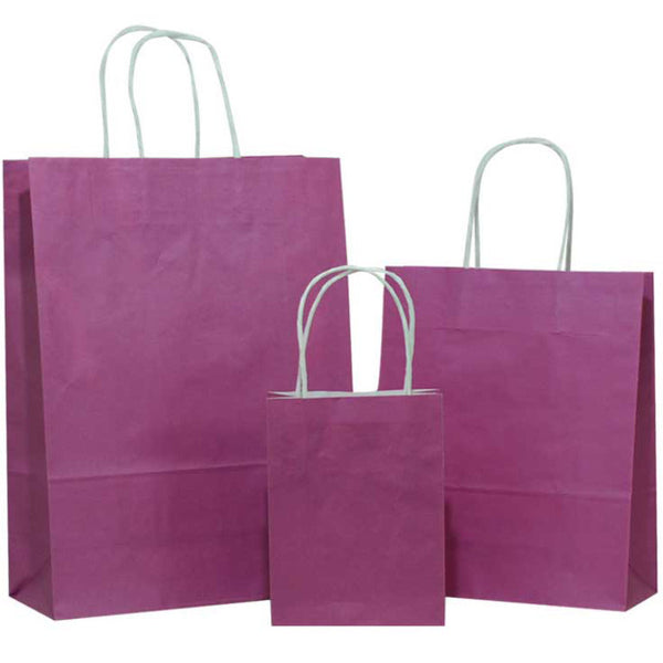 Purple Solid on White Carrier Bag with Twisted Handle
