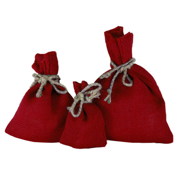 Red Jute Drawstring Pouches