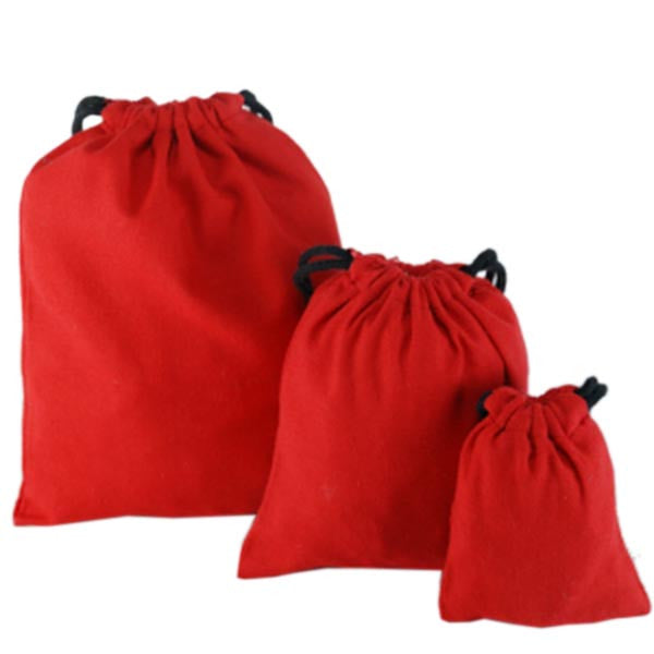 Red Cotton Drawstring Pouches