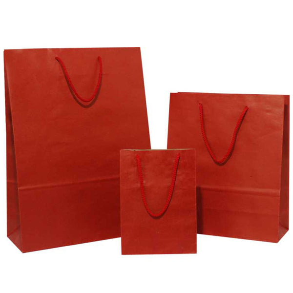 Dark Red on Brown Carrier Bags with Rope Handle