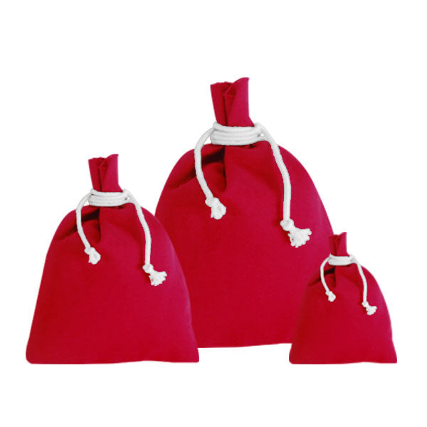 Red Canvas Drawstring Pouches