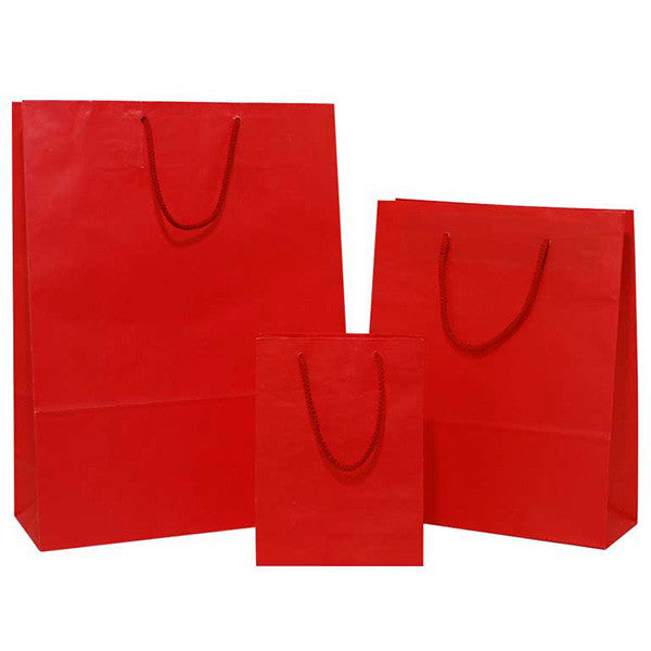 Red Solid on White Carrier Bag with Rope Handle