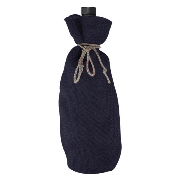 Royal Blue Jute Bottle Drawstring Bags