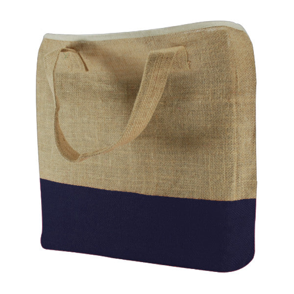 Natural Royal Blue Jute Two Colour Bags