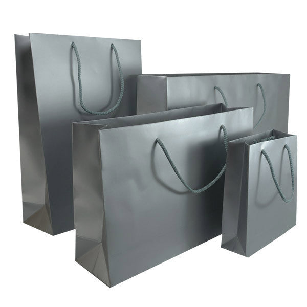 Silver Matt Laminated Carrier Bag with with Rope Handle