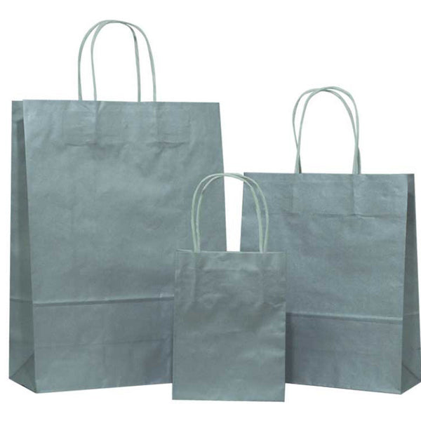 Silver Solid on White Carrier Bag with Twisted Handle