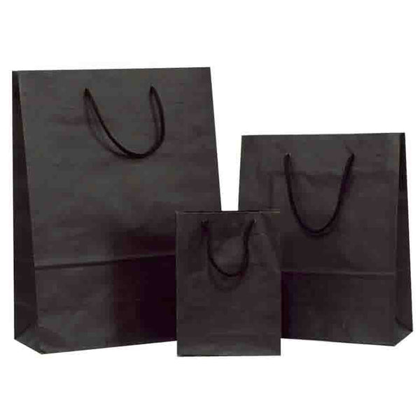 Strong Black Solid on Brown Carrier Bag with Rope Handle