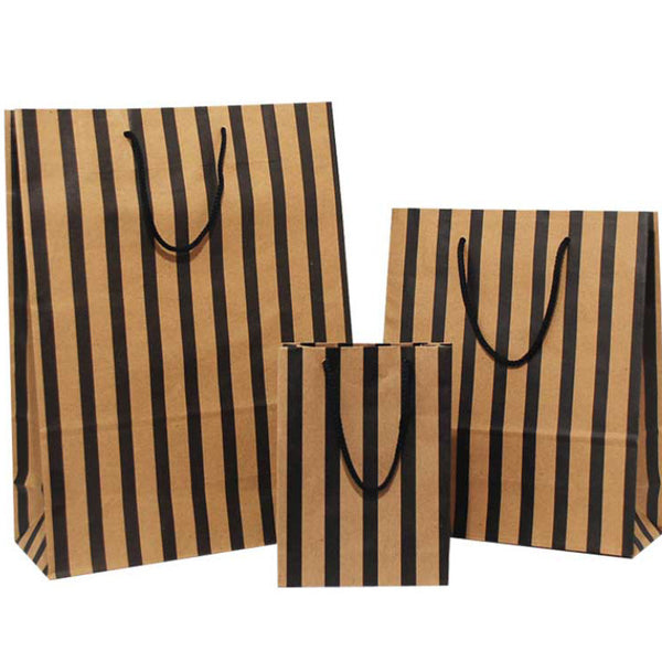 black stripes on brown carrier bags