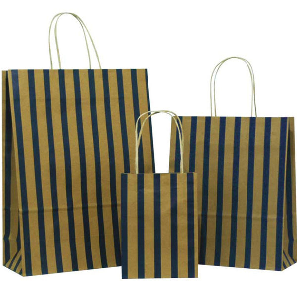 dark blue stripes brown carrier bags