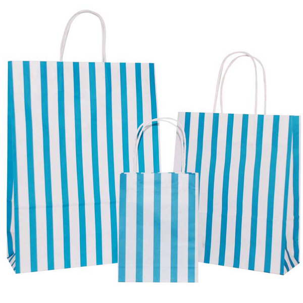 Turquoise Blue Stripes on White Carrier Bag with Twisted Handle