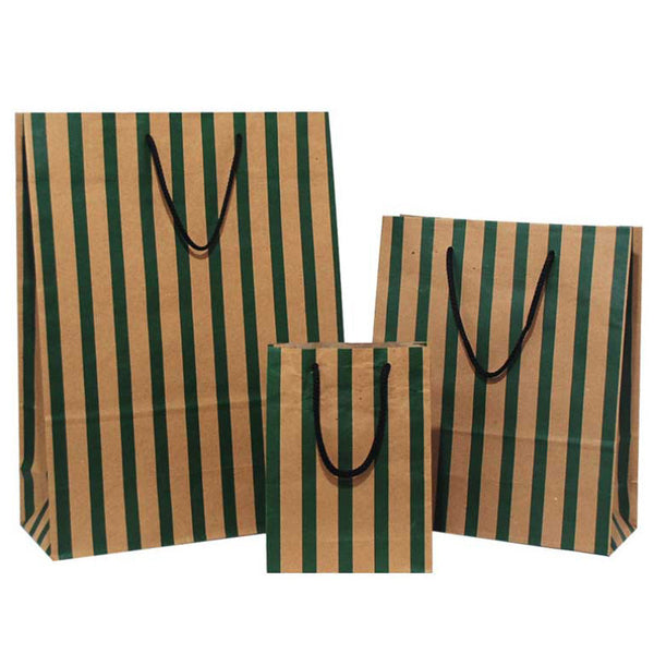 Green Stripes on Brown Carrier Bags with Rope Handle
