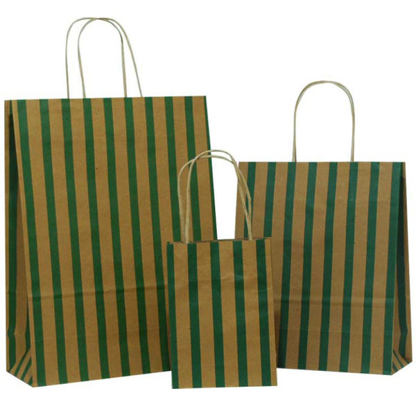 Dark Green Stripes on Brown Carrier Bags with Twisted Handle