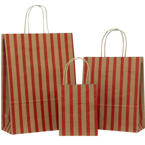 Dark Red Stripes on Brown Carrier Bags with Twisted Handle