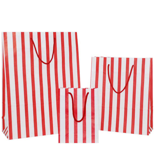 Red Stripes on White Carrier Bag with Rope Handle