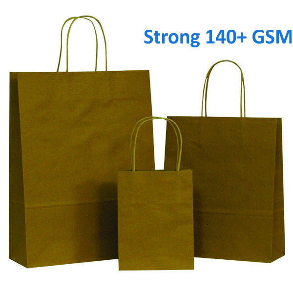Strong Natural Brown on Brown Carrier Bag with Twisted Handle