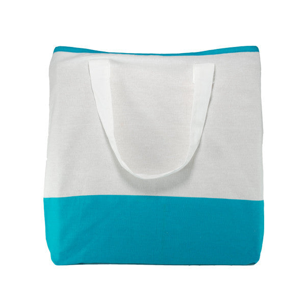 White Turquoise Blue Cotton Two Colour Bags