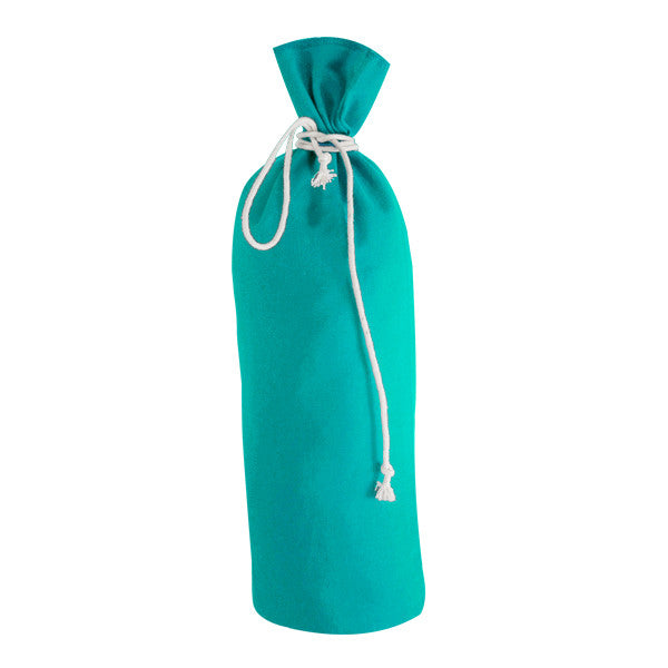 Turquoise Blue Canvas Bottle Drawstring Bags