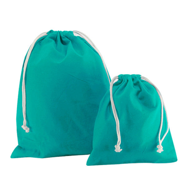 Turquoise Blue Canvas Drawstring Bags