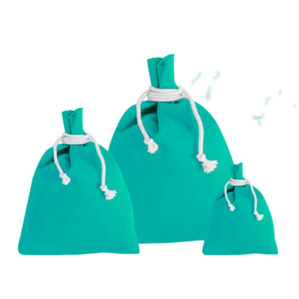 Turquoise Blue Canvas Drawstring Pouches