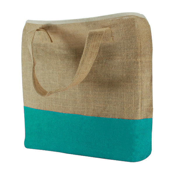 Natural Turquoise Blue Jute Two Colour Bags