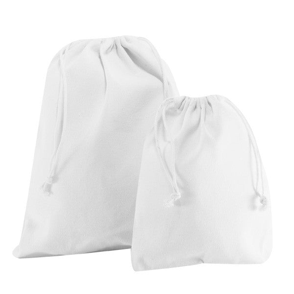 White Canvas Drawstring Bags