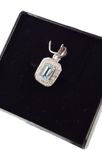 925 STERLING SILVER Aquamarine & Diamond Cushion Pendant-The Freperie-The Freperie