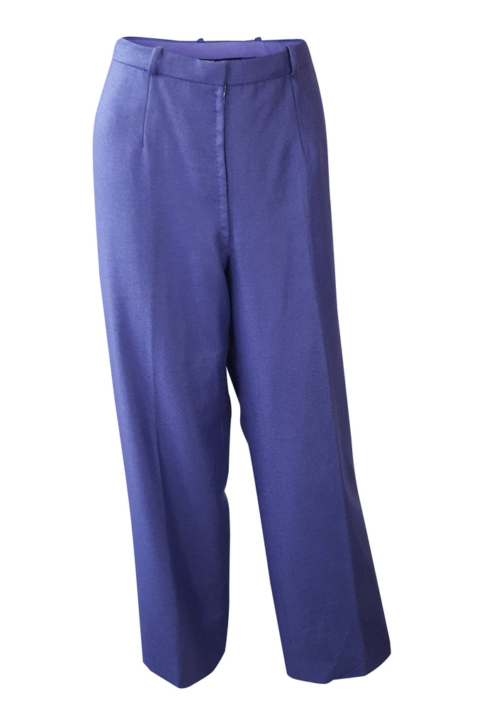 ANDRE LAUG Vintage Purple Wool Wide Leg Trousers (40)-Andre Laug-The Freperie
