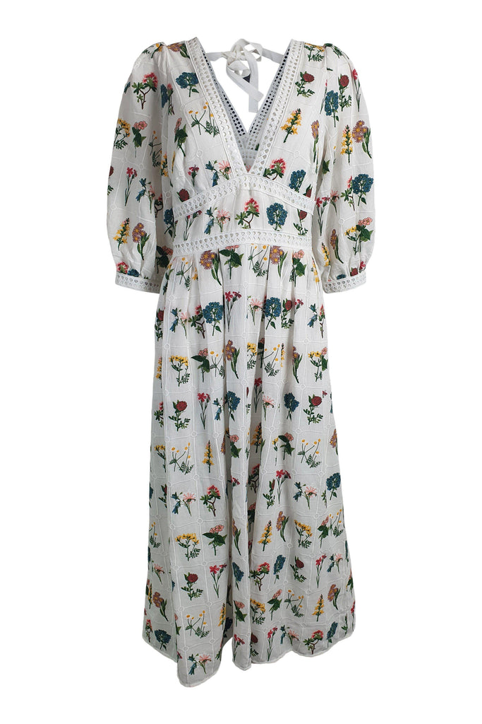 ANTHROPOLOGIE Carla White Cotton Floral Embroidered Maxi Dress (UK 10)-Anthropologie-The Freperie
