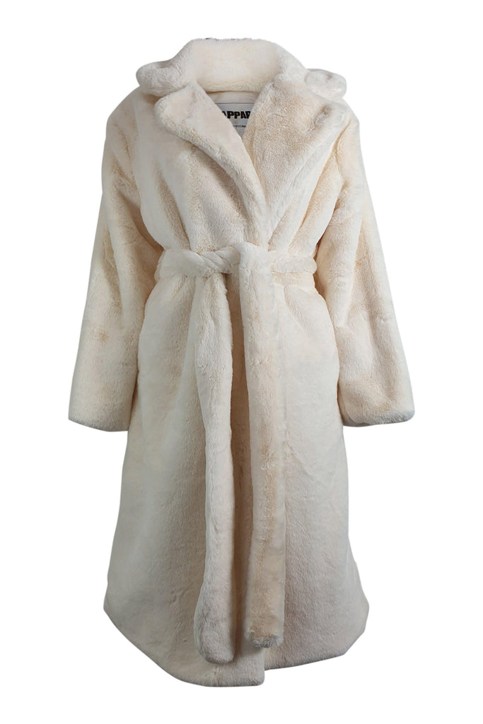 APPARIS Ivory Faux Fur Mona Robe Teddy Coat (M)-Apparis-The Freperie
