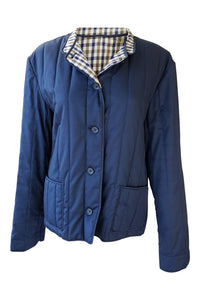AQUASCUTUM Vintage Quilted Blue Check Lined Jacket (M)-Aquascutum-The Freperie
