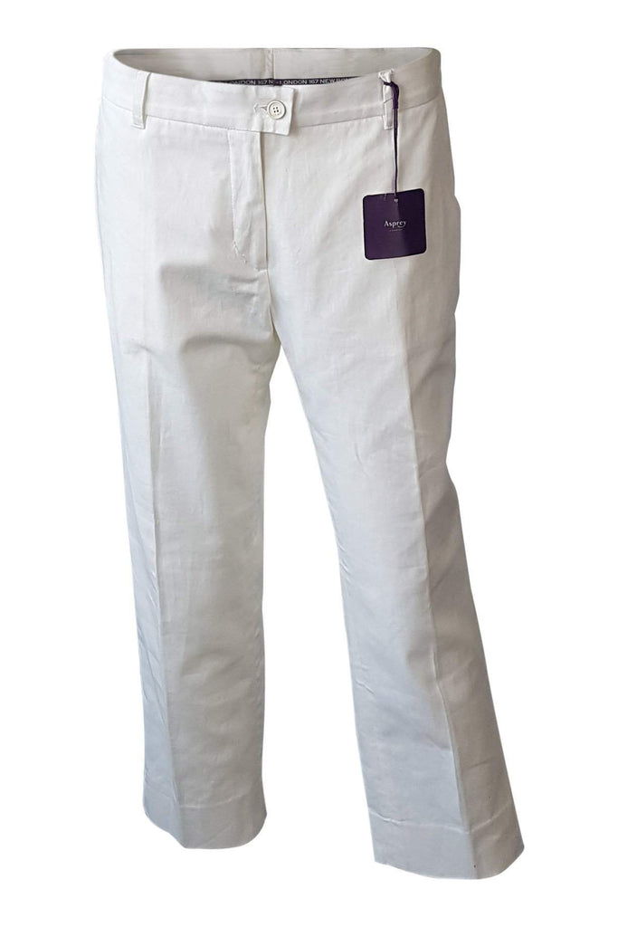 ASPREY White Cotton Cropped Trousers (UK 10)-Asprey-The Freperie