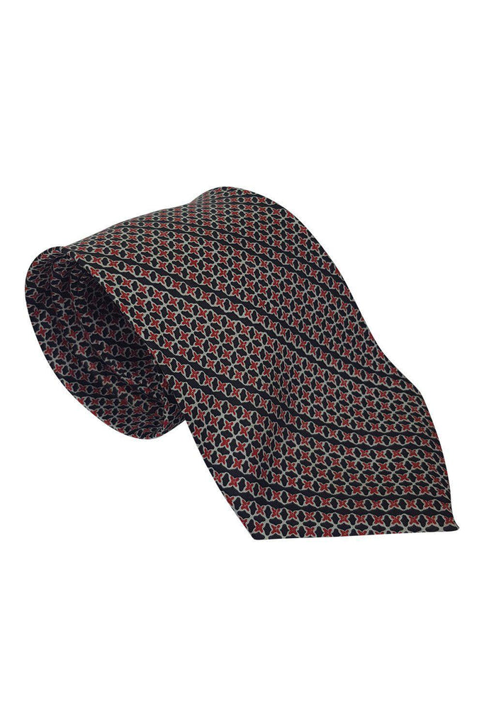 "AUSTIN REED 100% Silk Tie Red Black Geometric Star Print Repeat (55"")-Austin Reed-The Freperie"