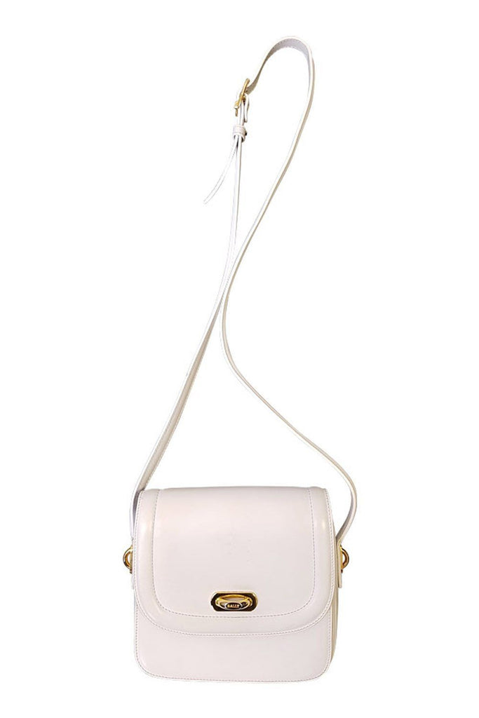 BALLY Vintage White Leather Cross Body Bag-Bally-The Freperie