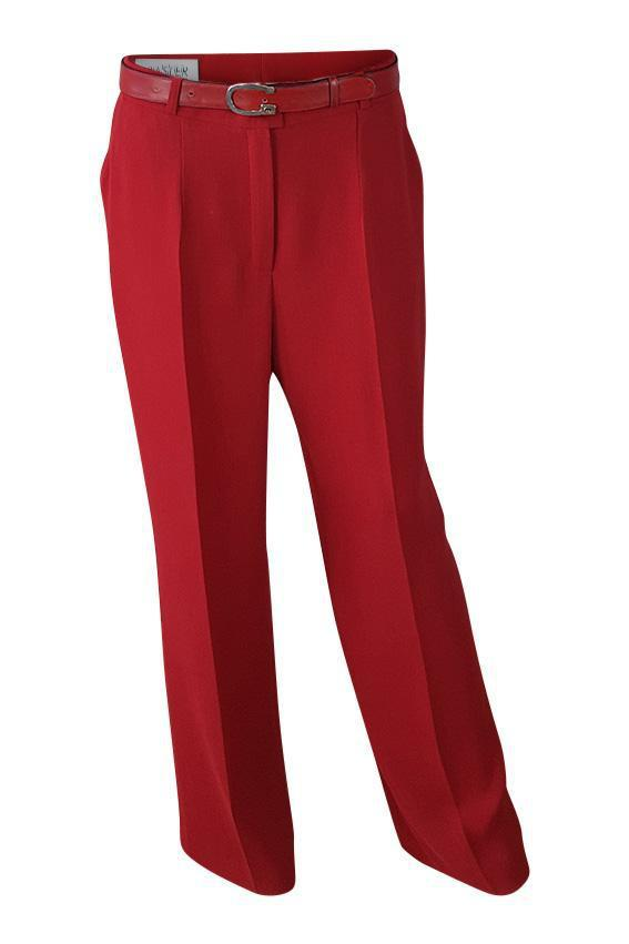 BASLER Lipstick Red Straight Leg Trousers (40)-Basler-The Freperie